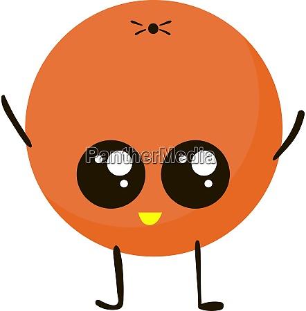 cute orange illustration vector on white