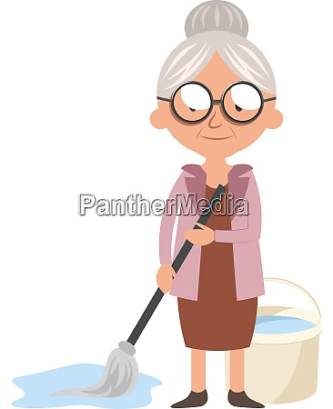 granny with mop illustration vector on