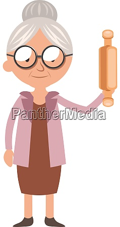 granny with rolling pen illustration vector