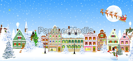 houses snowflake winter night santa claus