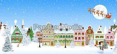 houses snowflake winter night santa claus