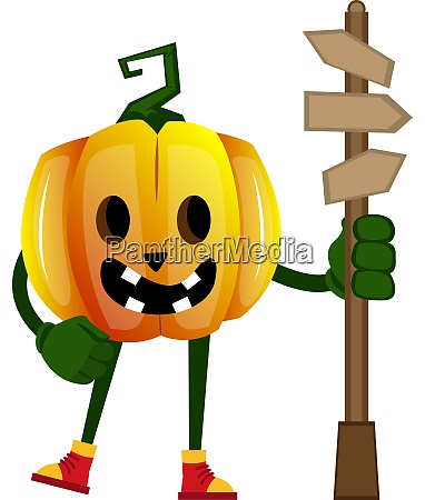 pumpkin with road sign illustration vector