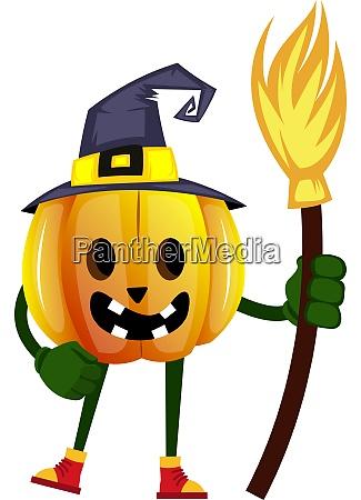 pumpkin with broom illustration vector on