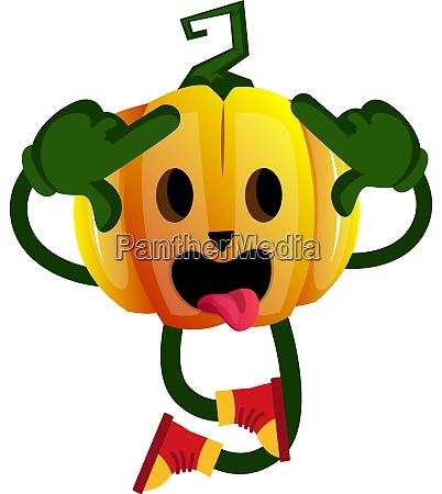 crazy pumpkin illustration vector on white