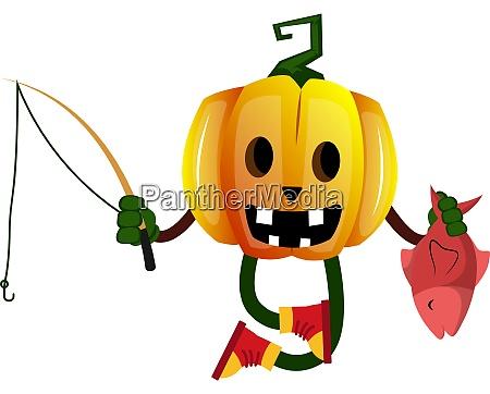 pumpkin with fishing rod illustration vector