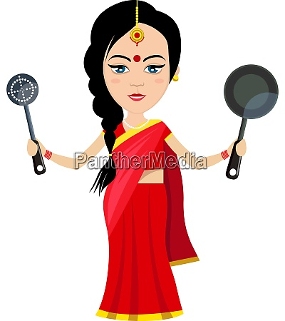 indian woman with pan illustration