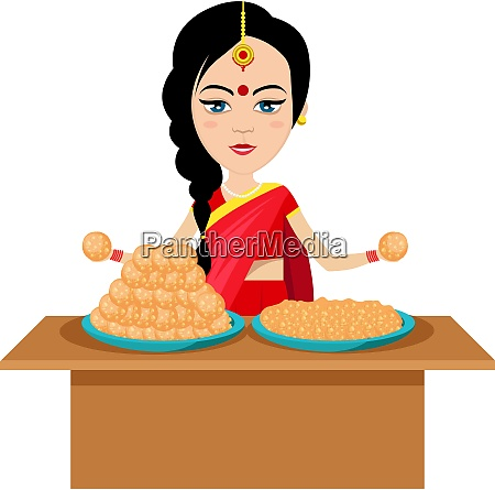 indian woman with cookies illustration