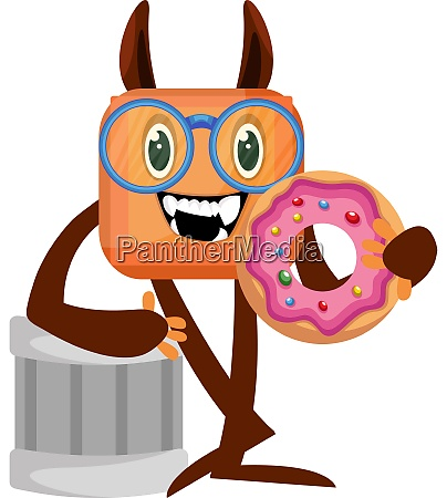 monster with donut illustration vector on