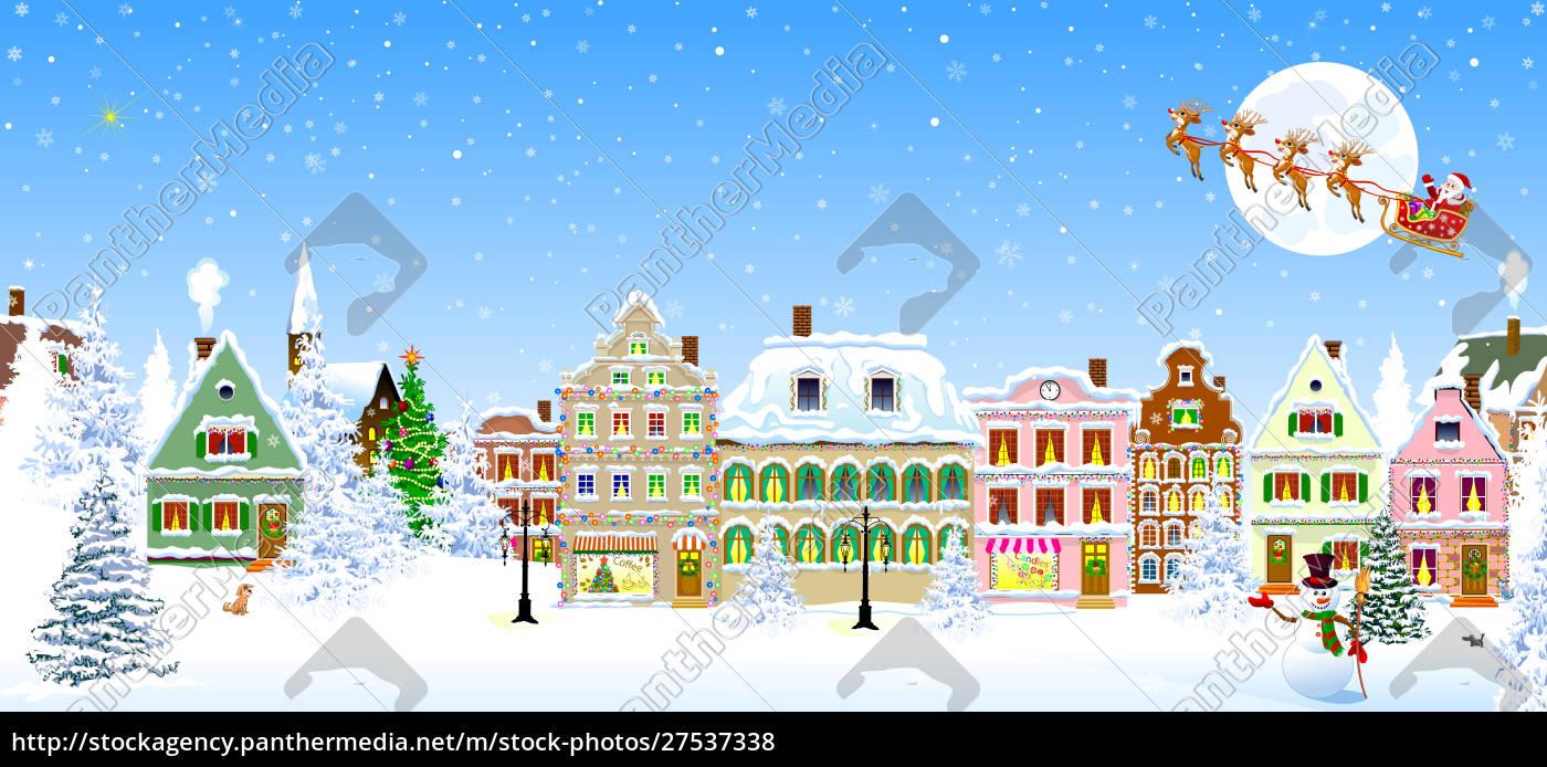 houses, snowflake, winter, night, santa, claus - 27537338