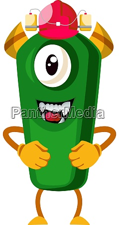 monster with red hat illustration vector