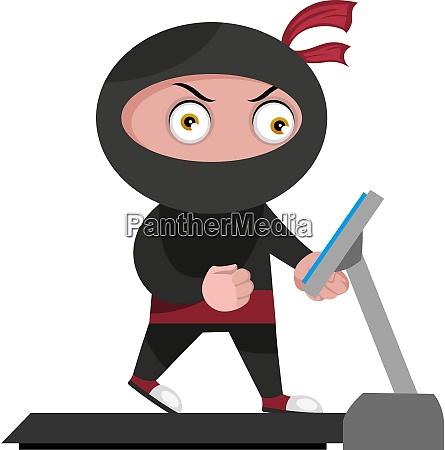 ninja with treadmill illustration vector on