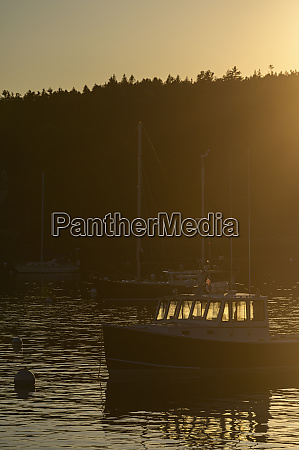 boat at sunset in seal harbor
