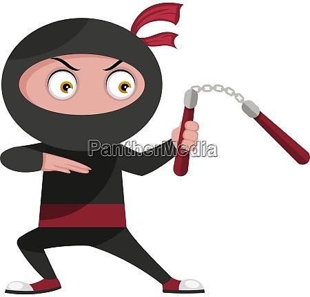 ninja with weapon illustration vector on