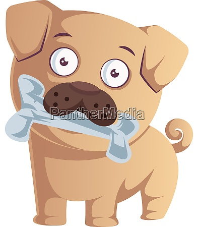 pug with bone illustration vector on