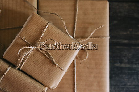 presents wrapped in brown paper and
