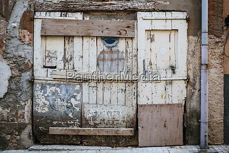 abandoned building exterior and door
