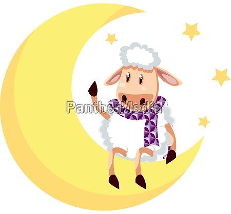 sheep on moon illustration vector on