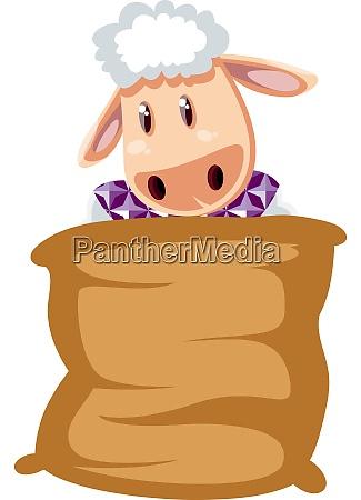 sheep in bag illustration vector on