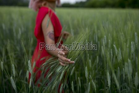 woman wearing red dress in wheat