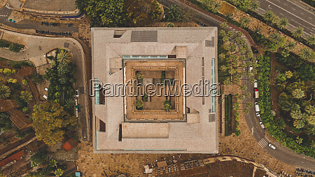 aerial view of abstract rectangular house