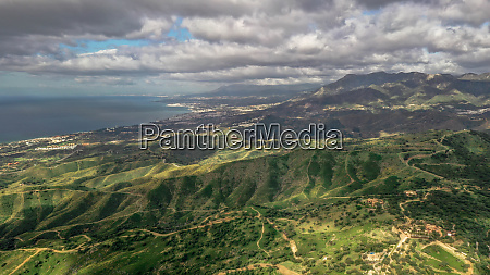aerial view of wonderful coast and