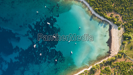 aerial view of boats anchored near