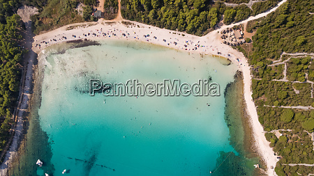 aerial view of transparent water at