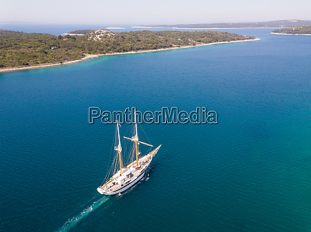 aerial view of touristic sailing boat