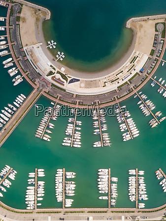 aerial view above of sukoan marina