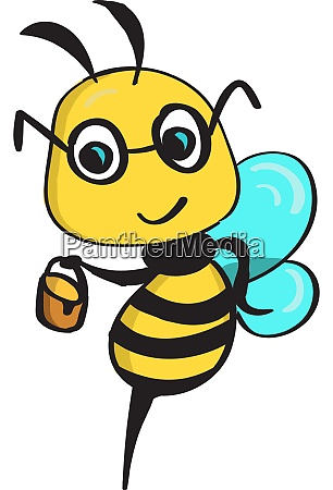 happy bee illustration vector on white