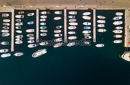 aerial view of boats anchored at