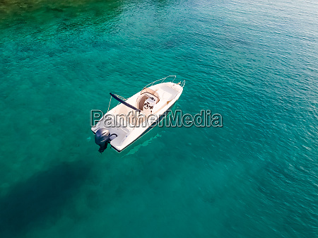 aerial view of single speed boat