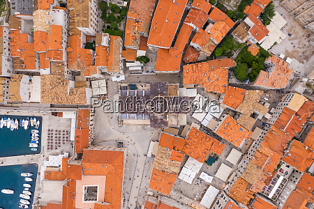 aerial view above church of saint