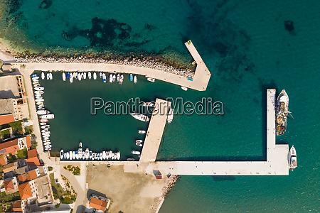 aerial view of small marina at