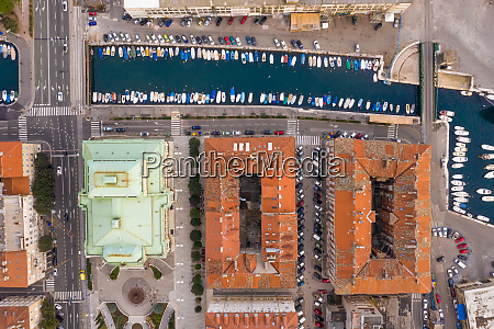 aerial view above of marina at
