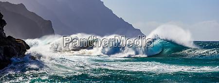 large waves crashing along the rugged