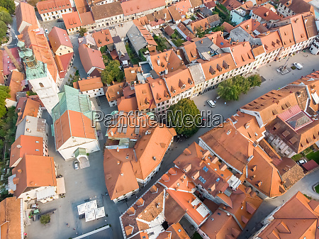 aerial view of skofja loka town
