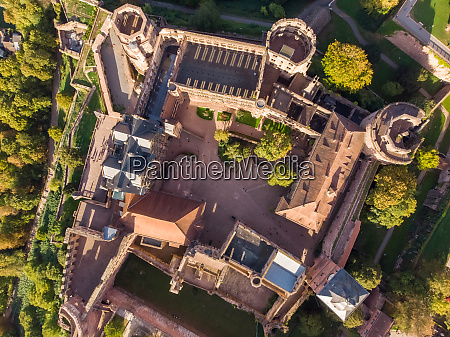 aerial view above of castle of