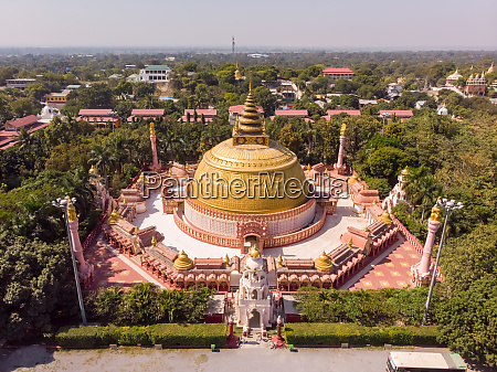 aerial view of buddhist academy in