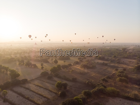 aerial view of hot balloons flying