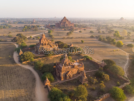 aerial view of bagan temples in