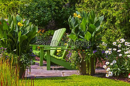 landscaped flower garden in bloom in