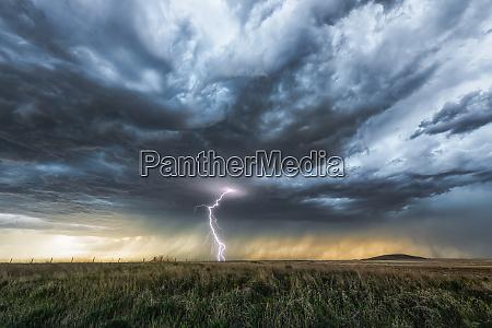 lightning strike on the horizon during