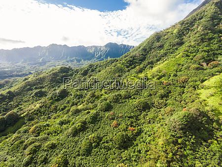 aerial view of the koolau mountains