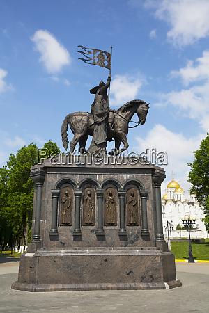 equestrian statue and russian church russia