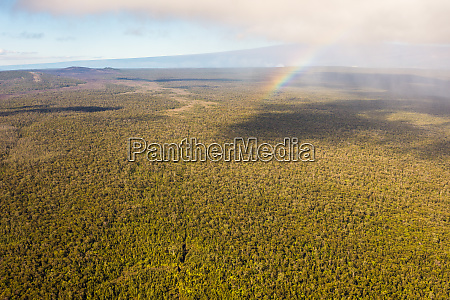 aerial view of a rainbow over