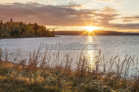 tranquil lake superior and autumn colours