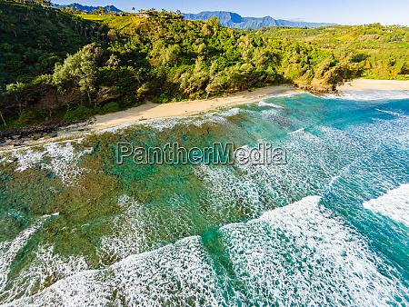 aerial view of kahili beach rock