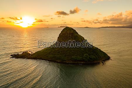 aerial view of mokolii island chinamans