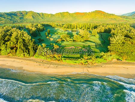 aerial view of wailua golf course